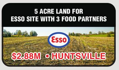 5 ACRE LAND FOR ESSO SITE WITH 3 FOOD PARTNERS FOR SALE IN HUNTSVILLE