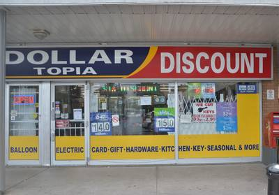Busy and clean dollar store for sale with lottery and cigarettes