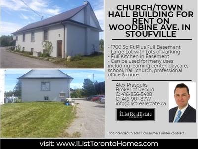 Freestanding Building For Lease on Busy Woodbine Ave. & Bloomington in Whitchurch-Stouffville