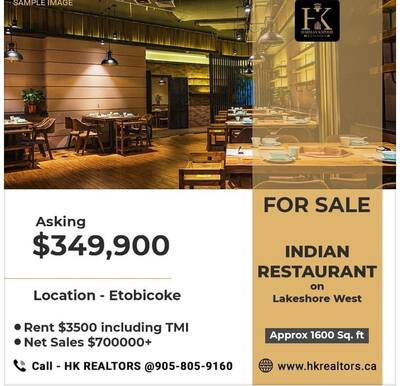 Restaurant For Sale On Lakeshore W-Rent $3500( Including TMI)